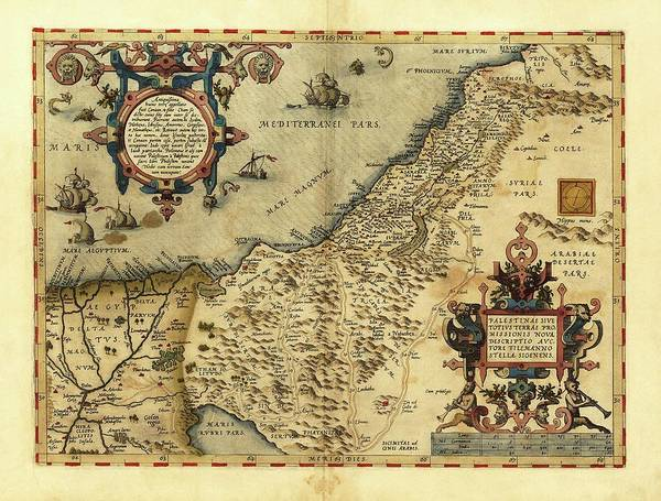 Antwerp Photograph - Ortelius's Map Of Palestine by Library Of Congress, Geography And Map Division/science Photo Library