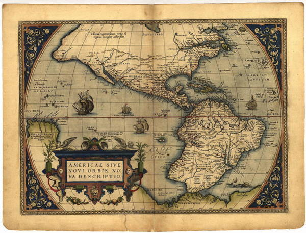 Hemisphere Wall Art - Photograph - Ortelius's Map Of The New World by Library Of Congress, Geography And Map Division/science Photo Library