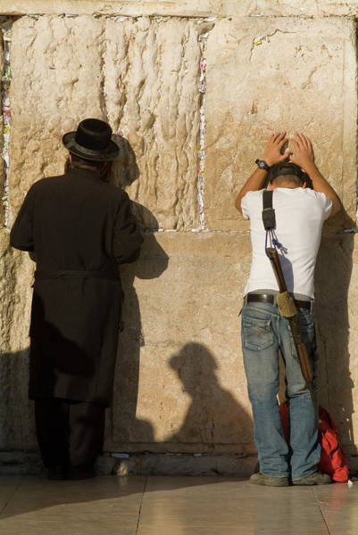 Wall Art - Photograph - Orthodox Jew And Soldier Pray, Western by Richard Nowitz