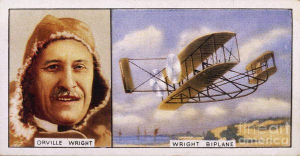 Photograph - Orville Wright And Biplane by Mary Evans Picture Library