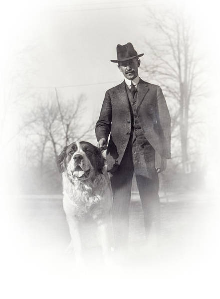 Dog Walker Photograph - Orville Wright And Scipio - 1921 by Daniel Hagerman