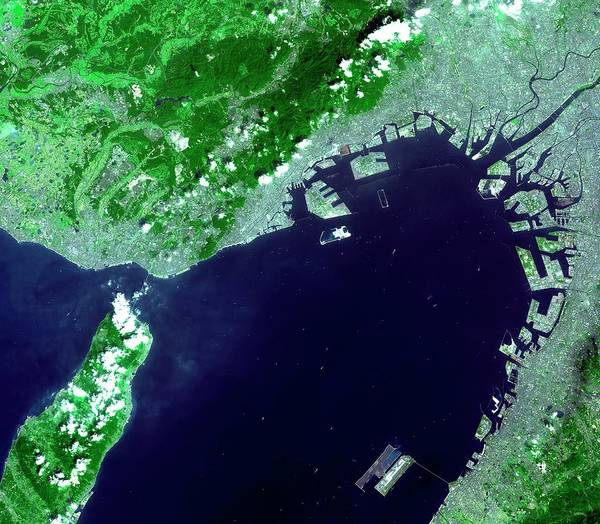 Kansai Wall Art - Photograph - Osaka Bay by Nasa/gsfc/meti/japan Space Systems And U.s./japan Aster Science Team