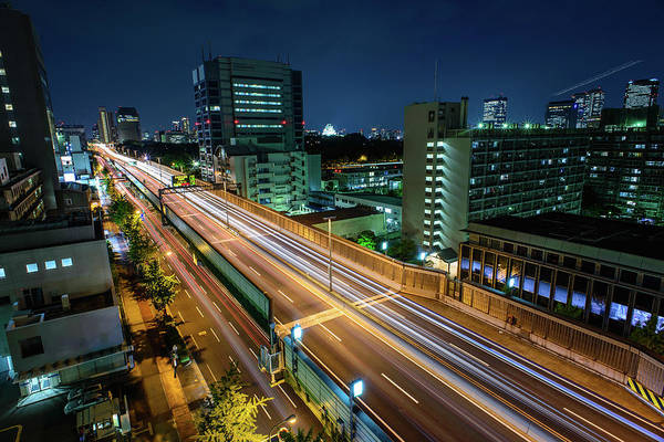 Rush Hour Photograph - Osaka From The Roof by Ian Collins, Osaka.