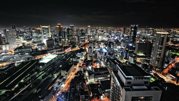 Neon Wall Art - Photograph - Osaka Night View by Hiroaki Koga