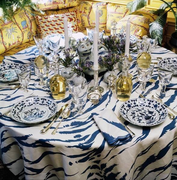 Blue Flower Photograph - Oscar De La Renta's Dining Table by Horst P. Horst