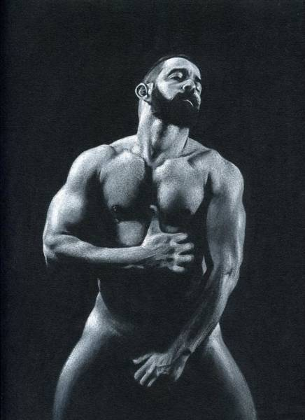 Male Nude Drawing - Oscuro 11 by Chris Lopez
