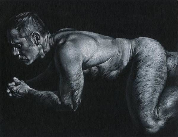 Male Nude Drawing - Oscuro 15 by Chris Lopez