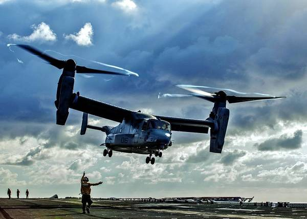 Flight Deck Photograph - Osprey Approach by Benjamin Yeager