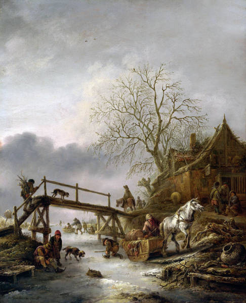 Snow Bank Painting - Ostade A Winter Scene by Granger