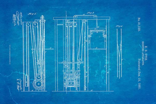 Fitter Photograph - Otis Elevator Patent Art 1861 Blueprint by Ian Monk