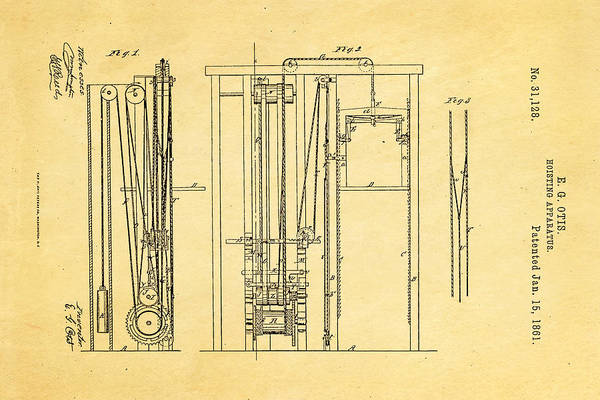 Inventor Photograph - Otis Elevator Patent Art 1861  by Ian Monk