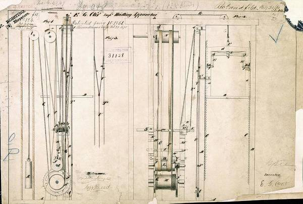 Wall Art - Photograph - Otis's Safety Elevator Patent by Us National Archives And Records Administration/ Science Photo Library