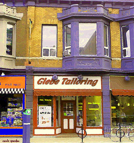Painting - Ottawa Paintings Storefronts Glebe Tailoring Fashion Cleaners Bank Street Old Ottawa South Cspandau  by Carole Spandau