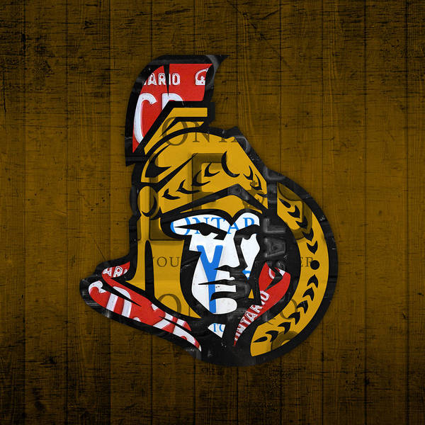 Wall Art - Mixed Media - Ottawa Senators Hockey Team Retro Logo Vintage Recycled Ontario Canada License Plate Art by Design Turnpike