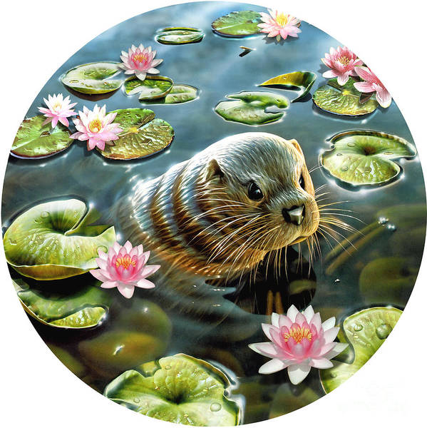 Puzzle Digital Art - Otter In Water Lilies by MGL Meiklejohn Graphics Licensing