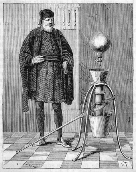 Wall Art - Drawing - Otto Von Guericke's Pneumatic  Pump by Mary Evans Picture Library