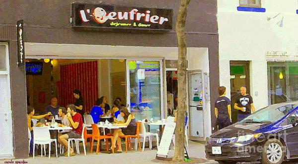 Painting - Ouefrier Montreal Breakfast Brunch Resto La Place Du Dejeuner Paris Style Sidewalk Cafe Scene   by Carole Spandau