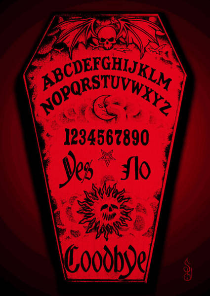 Bone Yard Wall Art - Mixed Media - Ouija Coffin by Steve Hartwell