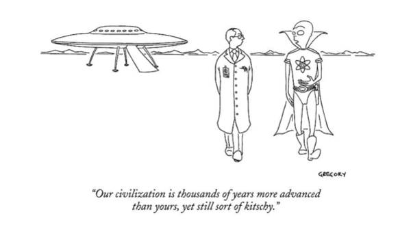 Saucer Drawing - Our Civilization Is Thousands Of Years More by Alex Gregory