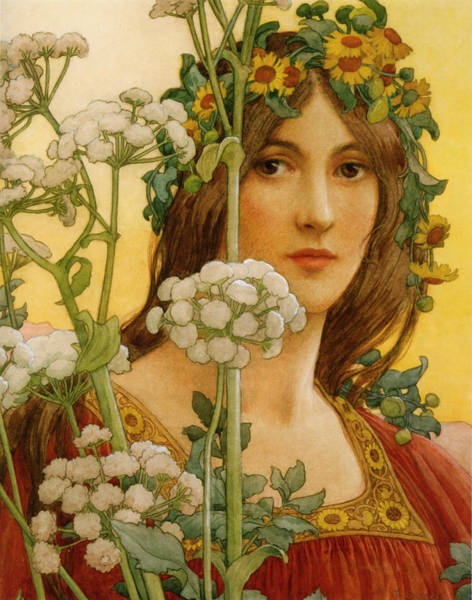 Old Masters Digital Art - Our Lady Of Cow Parsley by Elisabeth Sonrel