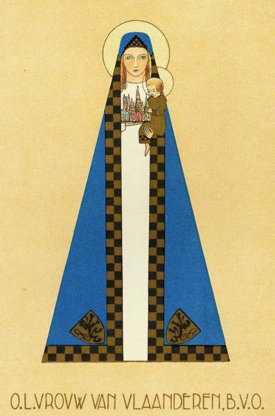 Checker Drawing - Our Lady Of Flanders Wears A Cloak That by Mary Evans Picture Library