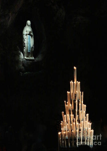 Photograph - Our Lady Of Lourdes With Candles by Carol Groenen