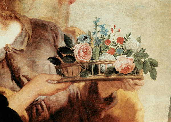 Wall Art - Photograph - Our Lady Of The Rosary, Detail Of The Basket Of Flowers Oil On Canvas by Gaspar de Crayer