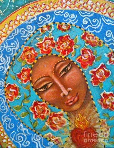 Sacred Heart Mixed Media - Our Lady Of The Roses by Maya Telford
