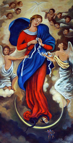 Knot Wall Art - Painting - Our Lady Undoer Of Knots by Valerie Vescovi