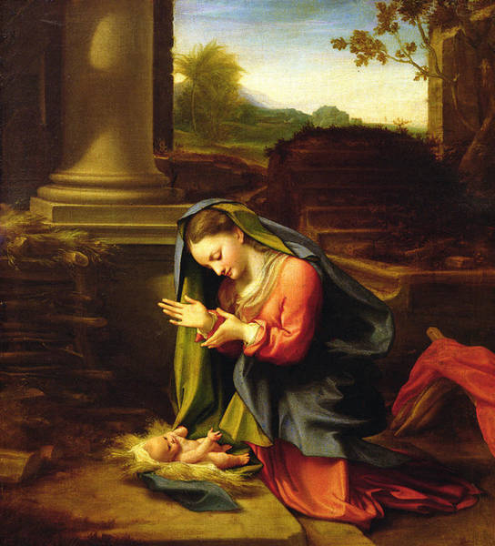Motherhood Painting - Our Lady Worshipping The Child by Correggio