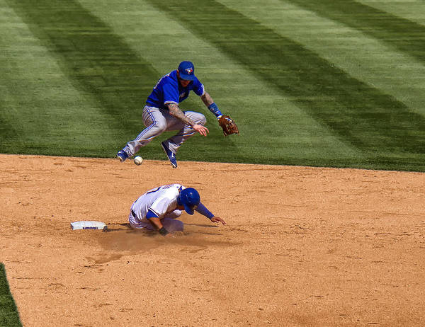 Toronto Blue Jays Photograph - Out At 2nd by Debby Richards