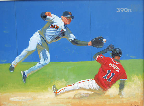 Painting - Out At Second by Mel Greifinger