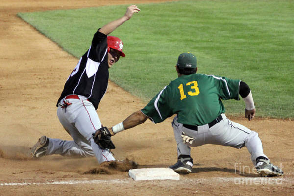 College Baseball Photograph - Out At Third by Bob Hislop