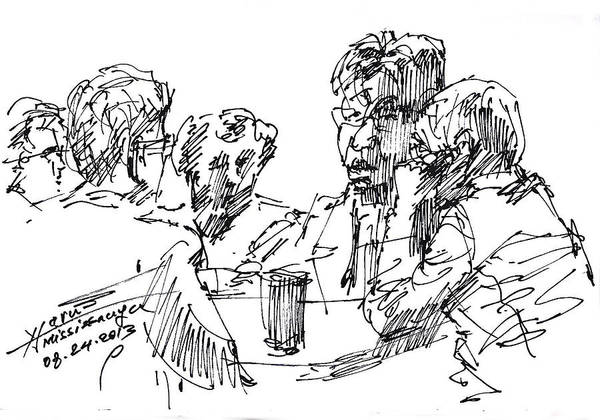 Wall Art - Drawing - Out For A Coffee 3 by Ylli Haruni