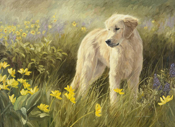 Canine Painting - Out In The Field by Lucie Bilodeau