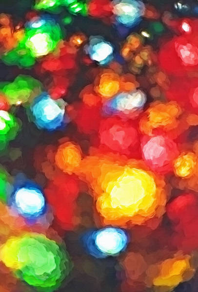 Christmas Season Wall Art - Photograph - Out Of Focus Christmas Lights 2 - Topaz by Steve Ohlsen