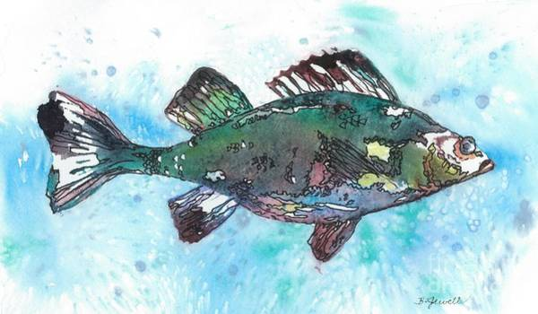 Trout Watercolor Wall Art - Painting - Out Of School by Barbara Jewell