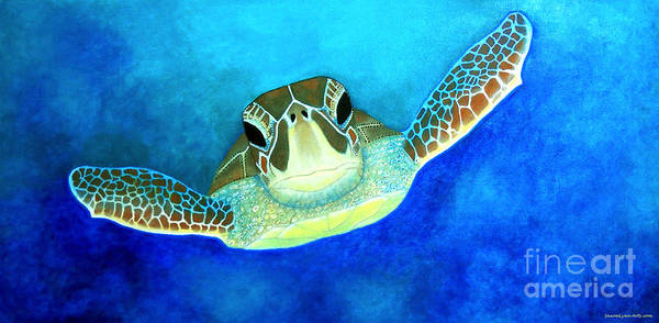 Turtle Painting - Out Of The Darkness by SaxonLynn Arts