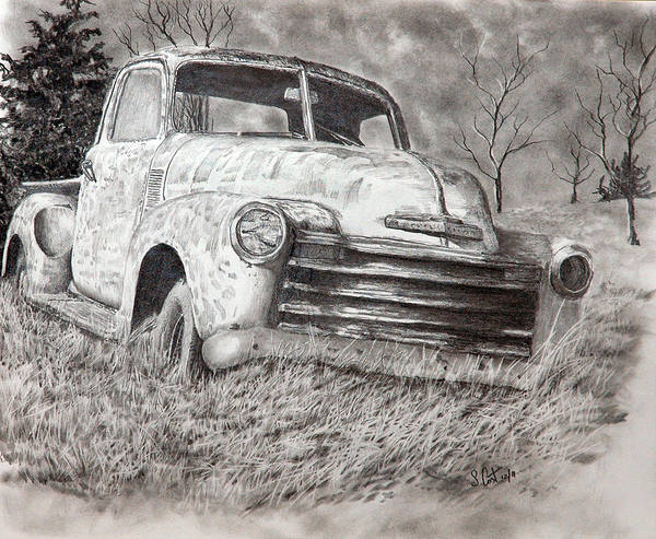 Old Chevy Truck Drawing - Out Of Work by Steve Cost