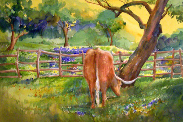 Longhorn Painting - Out To Pasture by Sue Kemp