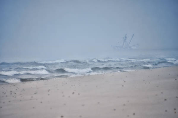 Photograph - Out To The Foggy Sea - Barnegat Inlet by Beth Sawickie