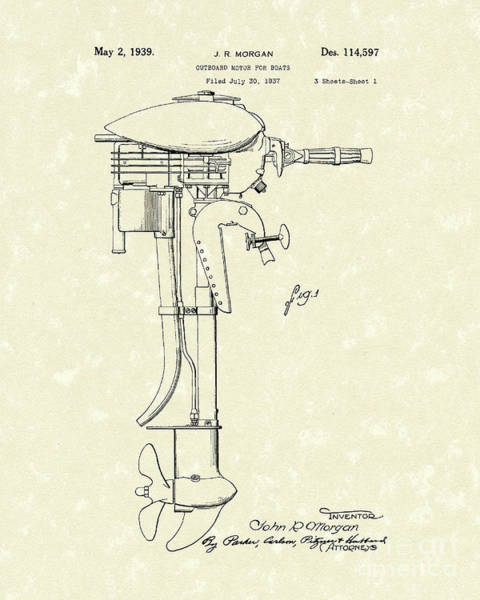 Wall Art - Drawing - Outboard Motor 1939 Patent Art by Prior Art Design