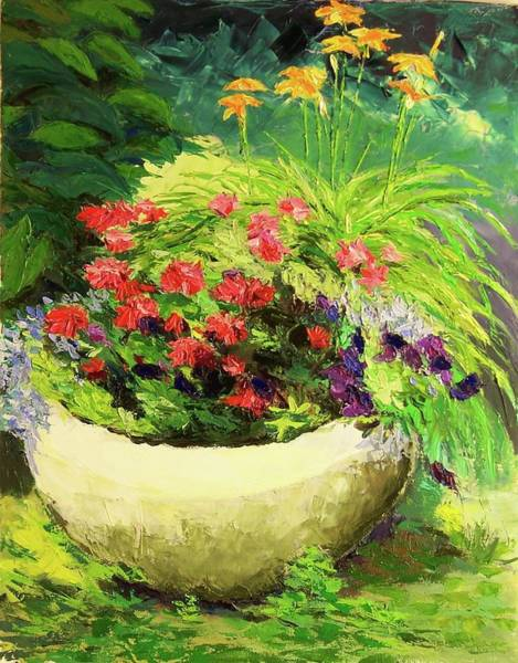 Painting - Outdoor Flower Pot  by Nicolas Bouteneff