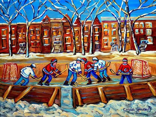 Pointe St Charles Painting - Outdoor Hockey Rink Winter Landscape Canadian Art Montreal Scenes Carole Spandau by Carole Spandau