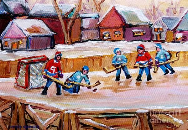 Painting - Outdoor Rink Hockey Game In The Village Hockey Art Canadian Landscape Scenes Carole Spandau by Carole Spandau
