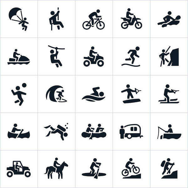 Outdoor Summer Recreation Icons Art Print by Appleuzr