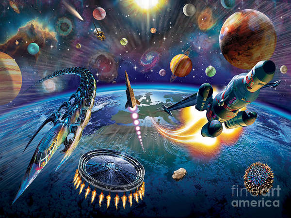 Space Ship Digital Art - Outer Space by MGL Meiklejohn Graphics Licensing
