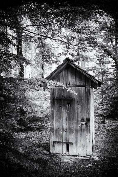 Wald Wall Art - Photograph - Outhouse In The Forest Black And White by Matthias Hauser