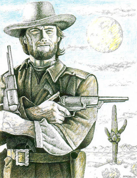 Clint Eastwood Drawing - Outlaw Josey Wales by Bern Miller
