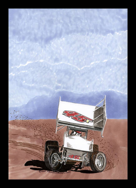 Classic Car Drawings Painting - Outlaw Race Car by Jack Pumphrey